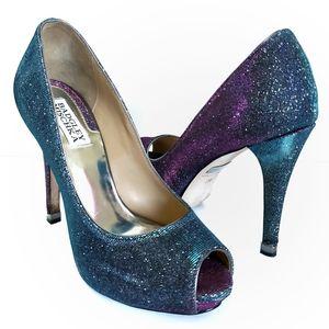 BADGLEY MISCHKA Humbie iridescent peep toe pumps 7